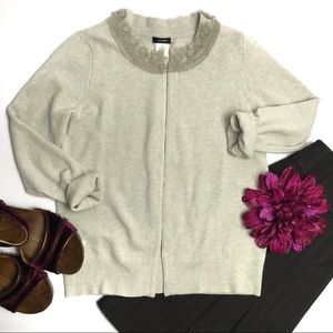 J. Crew Gray Maria Cashmere Blend Cardigan Sweater